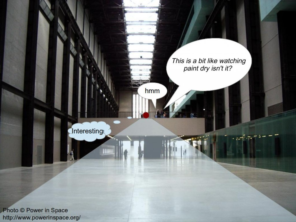 The position from which I recorded visitor interactions at Tate Modern
