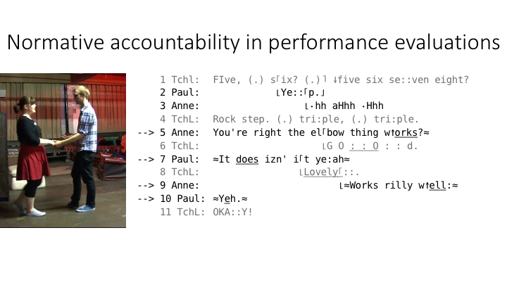 A slide from the talk showing some of the normative dimensions of accountability that emerge through students' terminal performance evaluations and how they're involved in teachers' routine, terminal assessments.
